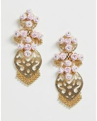 ASOS - Earrings In Pretty Filigree And Floral Design In Gold - Lyst