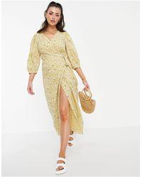 Vila Wrap Dress With 3/4 Balloon Sleeve - Yellow