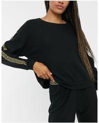 New Look Gold Trim Detail Lounge Sweatshirt Co-ord - Black