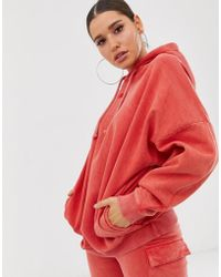 3a65d5f0 Oversized Acid Wash Hoodie Co-ord - Red