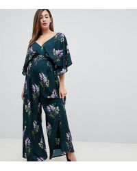 0aae716cc78 Lyst - ASOS Kimono Jumpsuit With Tipping In Floral Print in Red