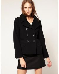 Boutique by Jaeger - Wool Pea Coat With Red Button Hole Detail - Lyst