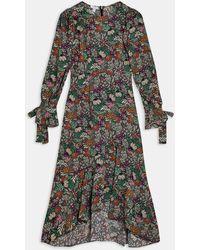 TOPSHOP Черное Платье Макси С Длинными Рукавами И Цветочным Принтом -многоцветный - Черный