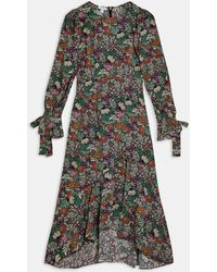 TOPSHOP Paisley Floral Print Long Sleeve High/low Dress - Black