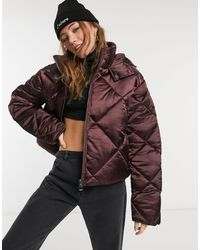 ASOS Satin Quilted Oversized Puffer Jacket - Red