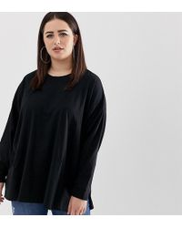 ab6a149d0ed ASOS - Asos Design Curve Organic Cotton Long Sleeve Washed Oversized Long  Sleeve Top In Black