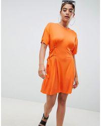 b0200a1272 ASOS - Asos Mini T-shirt Dress With Corset Detail - Lyst