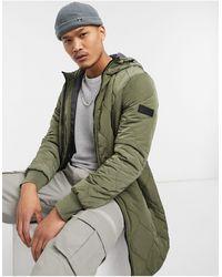 Tom Tailor - Удлиненная Дутая Куртка С Капюшоном В Цвете Хаки -зеленый - Lyst