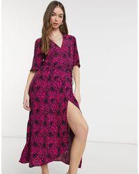 Warehouse Leopard Wrap Midi Dress - Purple
