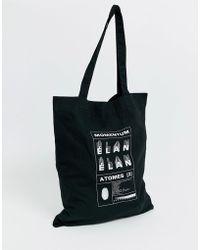 ASOS Organic Tote Bag In Black With Momentum Print