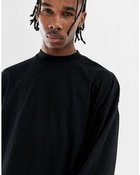 ASOS Oversized Long Sleeve Jersey Turtle Neck - Black