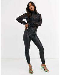 Vero Moda Sheer High Neck Body With Cuff Detail - Black