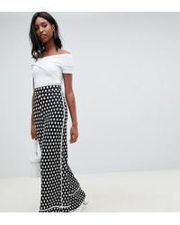 ASOS - Asos Design Tall Wide Leg Trouser With Contrast Bind In Mono Print - Lyst