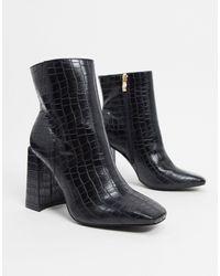 Glamorous Черные Ботинки С Квадратным Носом И Расцветкой Под Кожу Крокодила -черный