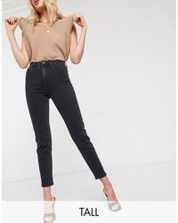 Stradivarius Tall - Smalle Mom Jeans Met Stretch - Zwart