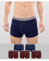 ASOS - Trunks In Navy With Stripe Waistband 5 Pack Save - Lyst