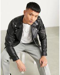 Pull&Bear Байкерская Куртка Из Искусственной Кожи -черный Цвет
