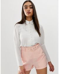 Fashion Union - Embroidered Button Front Blouse With Balloon Sleeves - Lyst