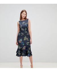 True Violet - Midi Skirt In Floral With Frill Hem - Lyst