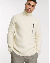 River Island Roll Neck Sweater - Natural