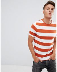 Only & Sons - Striped T-shirt With Stepped Hem - Lyst