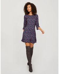 Miss Selfridge Ditsy Print Frill Hem Smock Dress - Purple