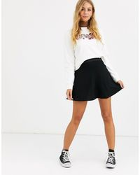 ASOS Elasticated Waist Flippy Mini Skirt - Black