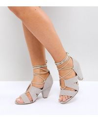 ASOS DESIGN - Asos Tali Wide Fit Lace Up Heeled Sandals - Lyst