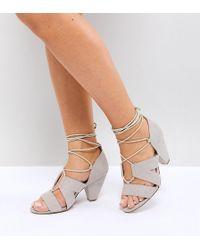 4d0b573d0 Steve Madden Asos Handwritten Heeled Sandals in Metallic - Lyst
