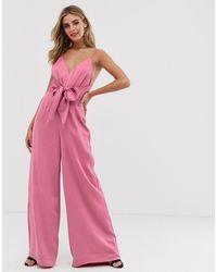 Keepsake Restore Tie Waist Wide-leg Jumpsuit - Pink