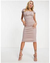 AX Paris Розовое Платье Миди С Квадратным Вырезом -розовый - Многоцветный