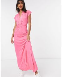 French Connection Meadow - Robe longue à col V - Rose