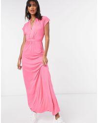 French Connection Meadow - Vestito lungo rosa con scollo a V
