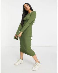 4th & Reckless Вязаное Платье Миди Цвета Хаки -зеленый Цвет