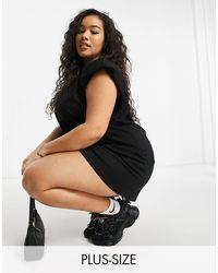 NaaNaa Plus Padded Shoulder T-shirt Dress - Black