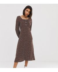Mango - Polka Dot Square Neck Midi Dress In Brown - Lyst