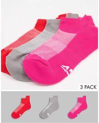 ASOS 4505 Run Trainer Socks With Antibacterial Finish 3 Pack - Red