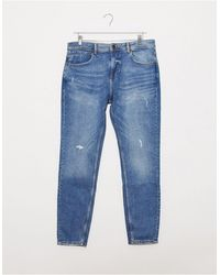 Pull&Bear Carrot Fit Jeans With Rips - Blue