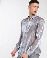 ASOS Regular Fit Silver High Shine Shirt - Metallic