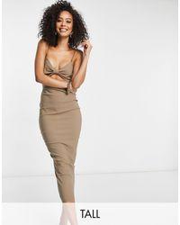 Vesper Светло-коричневое Платье Миди С Декоративным Вырезом -бежевый - Многоцветный