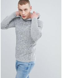 River Island - Hoodie en maille - Gris chiné - Lyst
