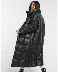 ASOS Longline Square Quilt Coat - Black