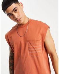 ASOS Camiseta sin mangas marrón holgada con bolsillo