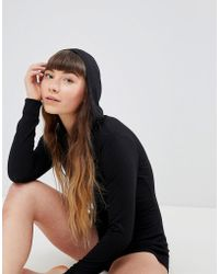 ASOS - Asos Supersoft Ribbed Hooded Sleepwear Romper - Lyst