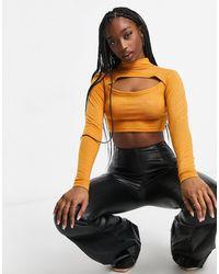 UNIQUE21 Золотисто-коричневый Трикотажный Кроп-топ С Воротником-стойкой И Декоративным Разрезом -коричневый Цвет - Многоцветный