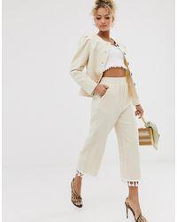 Never Fully Dressed Tassel Hem Pant Co-ord In Cream - Natural