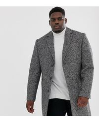 ASOS - Plus Wool Mix Overcoat In Gray Texture - Lyst