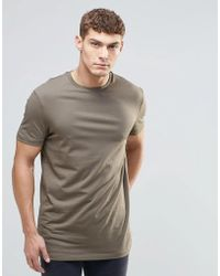 ASOS - Longline T-shirt With Crew Neck In Green - Lyst