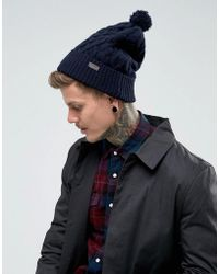 Barbour - Cable Knit Beanie In Navy - Lyst