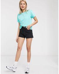 Weekday Rowe Organic Cotton Denim Mom Shorts - Black